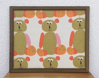 Vintage Framed Scuda Teddy Bear Bedsheet Wall Art