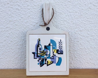 Vintage Hanging Cheese Board Cubist Decorative Tile Still-life FREE SHIPPING
