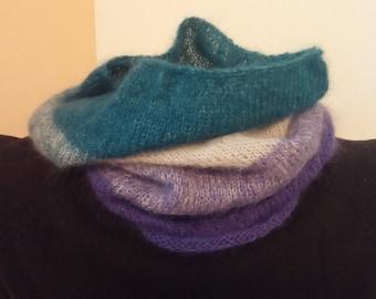 Handknit Ombre Cowl Hood, Knitting, Neckwarmer, Neck Warmer