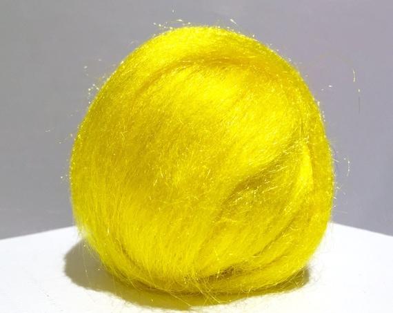 Yellow Firestar, Needle Felting, Spinning Fiber, roving, .5 oz, Lemon Drop, primary yellow, Yellow Sun, Firestar is similar to Icicle Top