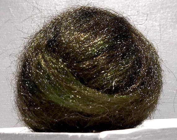 "Olive Green Brown Firestar ""Camouflage"" Needle Felting, Spinning Fiber, roving .5 oz, medium green, olive brown gold green  camo green"