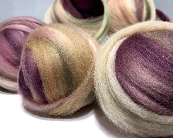 "wool roving, Superwash Spinning fiber, Needle Felting ""Fairy Forrest"" Purple blush pink olive green sage tan off white/ecru, Saori weaving"