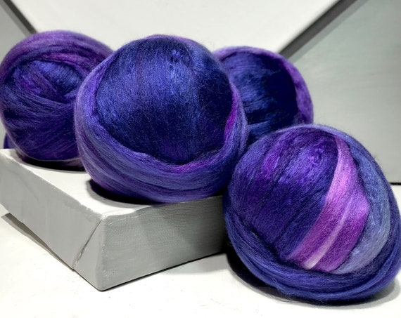 Purple wool silk roving, 50/50 Merino Silk, Spinning Roving, Needle Nuno Felting Fiber, Purple, violet, lavender, pink, blue violet roving