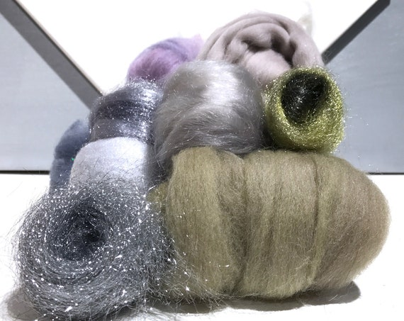 "Fiber Art batt KIT, felting wool ""Sterling"" pale purple silver grey white light olive silver blue pale beige spinning fiber DIY Art Yarn Kit"