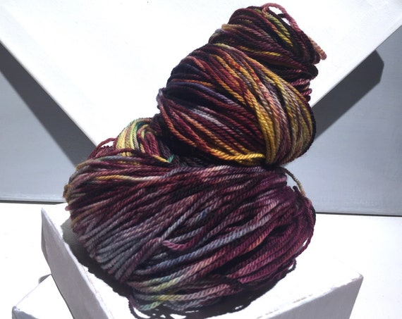 "Sock yarn, fingering weight, handpainted yarn, ""Painted Rock"" shawl yarn sock weight, gold wine teal navy yarn"