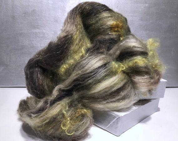 "Green Grey fiber art batt, spinning fiber, felting wool ""Mossy Rock"" Dark Gray, silver grey, white, yellow green, dark olive, chartreuse red"