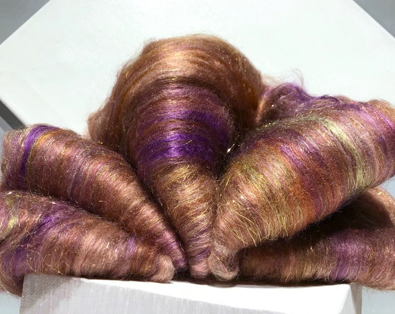 "Topaz Violet fiber art batt, felting wool, spinning fiber ""The Golden Rule"" Sienna, Gold, Topaz, Violet, Brown"