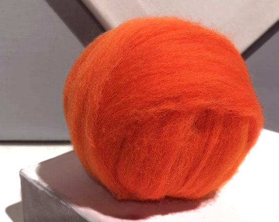 Safety Orange wool roving, Needle Felting, Spinning wool, hand dyed wool, fluorescent orange, yellow orange roving