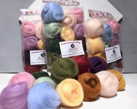 "Felting Wool Spring Color Kit, ""Spring's Promise"" Ashford Pastel wool sampler, seasonal color sampler, DIY Gift, last minute wool craft gift"