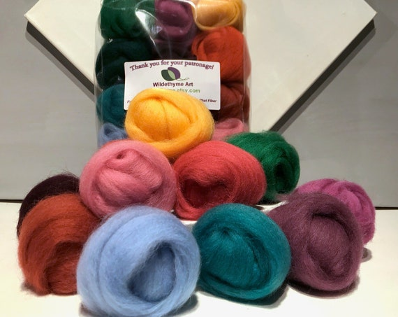 "Felting Wool Fall Color Kit, ""Autumn"" Ashford fall, jewel color wool sampler, seasonal color sampler, DIY Gift, last minute wool craft gift"