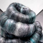 "Teal Silver rolags, spinning fiber, felting wool ""Silver Sage"" DIY Gift, Turquoise, Aqua, Silver, Grey, Wine, black, mint green"