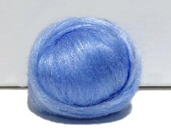 Spinning Fiber blue Needle Felting roving Blue Firestar bright blue .5 oz similar to Icicle Top