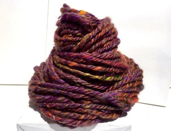 "Super bulky yarn, handspun, super texture, mixed fiber Handspun , ""Zafara"", Violet, purple, orange, Green, chartreuse, fall color, Autumn"