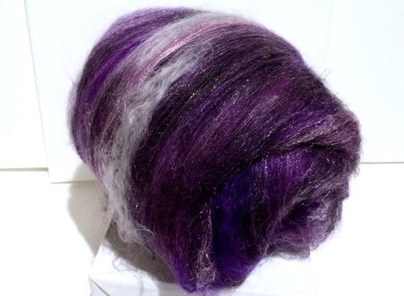 "fiber art batt, wool, roving, spinning, felting ""Vanitas"", PHAT Fiber, February 2012, black, pink, purple, silver"