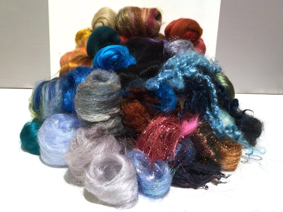 Deluxe Needle Felting, Spinning Fiber Surprise / Challenge, large assortment of colors, texture fibers, locks, roving, Choose Colors, 4 oz.