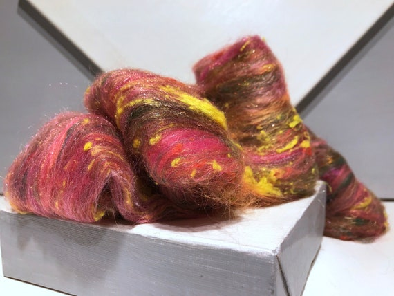 "Pink Green fiber art batt, felting wool spinning fiber roving ""Morning Glory"" pink, olive green, yellow orange, salmon, coral, mini art batt"