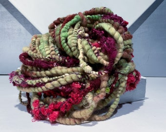 "Chunky Handspun Art Yarn ""Honeycrisp Apple"" 5.5 oz, 96 yards, Lime, Yellow-Green, Chartreuse, olive apple green, red blush"