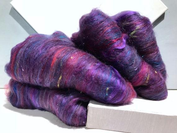 "Purple fiber art batt wool, felting spinning PHAT FIBER ""Purple Prism"" purple, lavender, orchid, hyacinth blue, Red Violet hand spinning"
