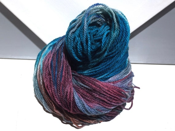 "Blue Purple Sock yarn, fingering weight handpainted yarn ""Blue Rasperry""  shawl yarn sock weight, turquoise wine teal merlot lavender purple"