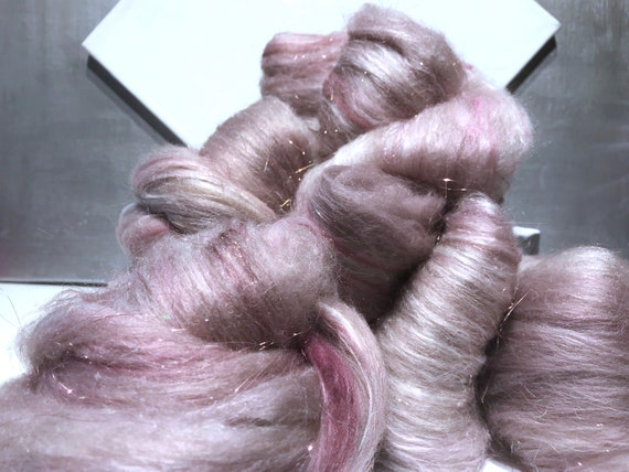 "Pink tan fiber art batt, ""Faire Farts"" Spinning fiber felting wool: Mocha, White, Mauve, Pink, Purple, White, Orchid, Dusty Rose, silver"