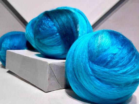 "Ocean Blue wool silk roving ""Ocean Waves"" 50/50 Merino Silk, Spinning Roving, Needle Nuno Felting Fiber, Teal Aqua cerelean blue Sky Blue"