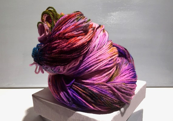 "Pink Purple Sock yarn, fingering sock weight handpainted yarn ""Vivid Sunset"" pink purple turquoise gold rust orange green"