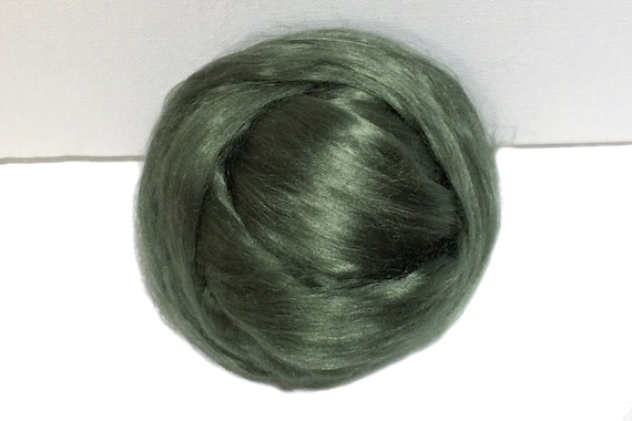 Sage Green Bamboo roving, top, Needle Felting,  Spinning Fiber, Medium Green, silver green, Pistachio  1 oz.