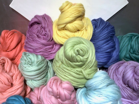 """Pastel Thick Thin Art Yarn, bulky handspun yarn """"Collection, Spring"""" orchid pink lavender light blue yellow spring green Coral salmon Easter"""