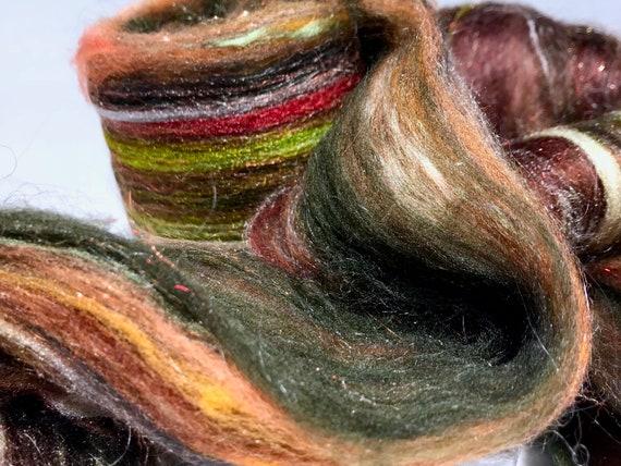 "Fiber art batt, ""A Walk in the Woods"" felting wool, spinning fiber, roving, brown, topaz, rust, hunter green, chartreuse, tan, white, brown"