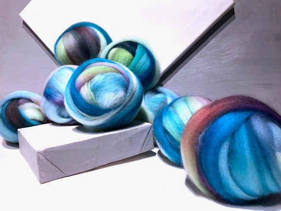 """Aqua Blue Violet wool roving """"Over the Rainbow"""" SW Spinning fiber Needle Felting wool: Teal Turquoise Blue Violet Green Wine Rust off white"""