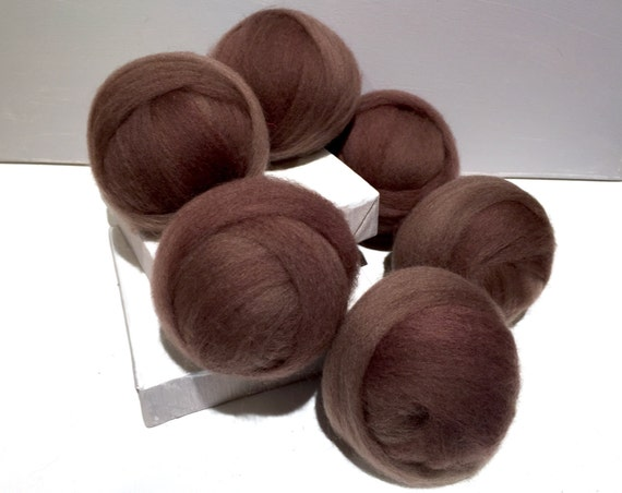 Cocoa brown wool Roving, brown wool top, Needle Felting wool, Spinning Fiber, light brown, mocha brown