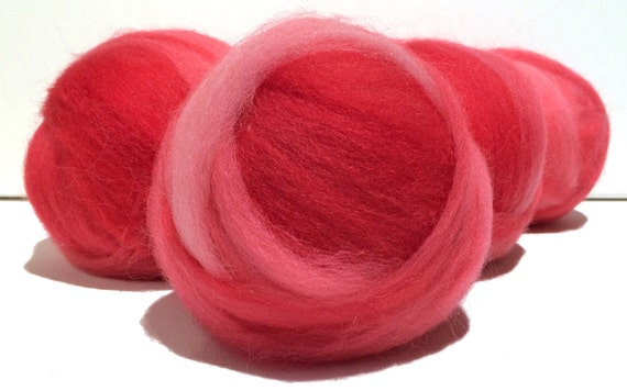 Pink Flamingo wool roving, Felting wool, Spinning Fiber, variegated: light pink, med, bright pink roving