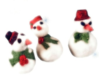Needle Felting Pattern, Holiday Snow Man, Snow Woman, INSTANT Download, Christmas ornament, DIY, Winter, Tutorial, Instructions