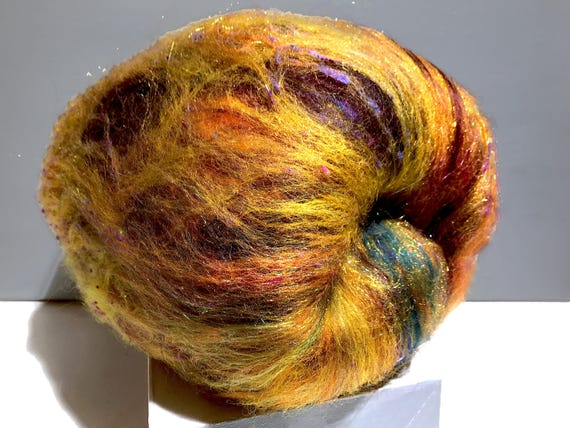 "gold art batt, RTS, Spinning fiber ""Black-eyed Susan"" Nuno, Needle felting wool, Gold, black brown yellow purple green topaz copper, PHat Fi"