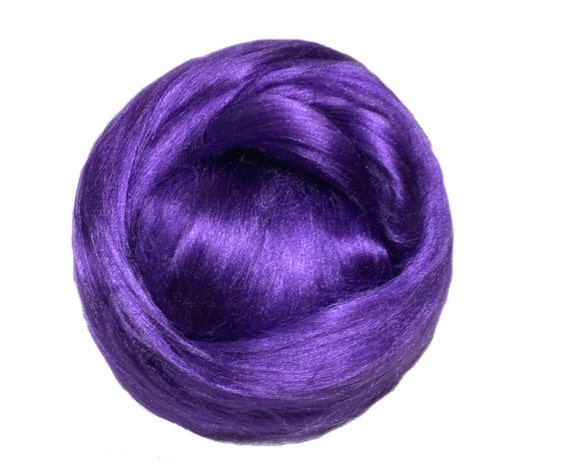 Purple Bamboo roving, wet, nuno felting, Needle Felting, Spinning Fiber, Heliotrope, purple roving, purple bamboo, vegan, silk alternative
