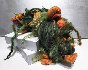 Handspun Art Yarn Club, Wilde Garden Yarn Club, Thick and thin Super bulky art yarn, free ship US, big knitting crochet Saori weaving yarn