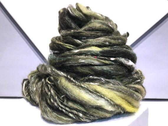 "Olive Green Thick Thin Yarn, Super bulky handspun yarn ""Holly and Ivy"" Brown, olive green topaz grey rust brick red, Art Yarn"