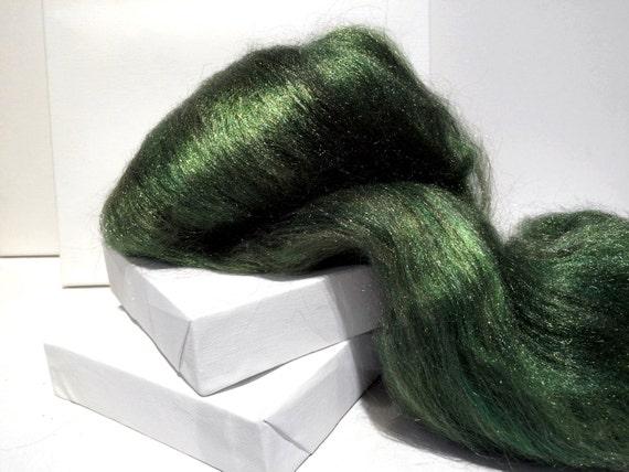 Moss Firestar, Needle Felting, Spinning Fiber, roving, .5 oz, moss green, medium green, green grey, similar to Icicle Top, ship free w wool