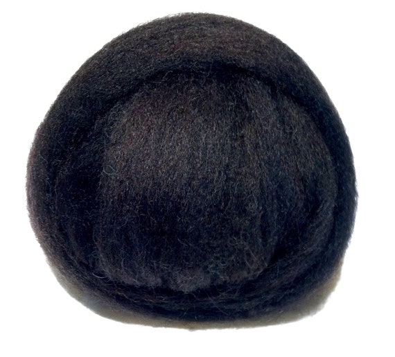 Natural Black Needle Felting Spinning Fiber, wool, roving, hand dyed, Purple black, variegated black