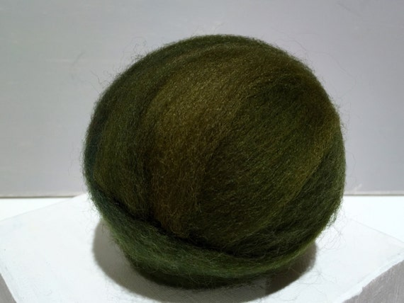 "Olive Green wool roving ""Loden"" Felting wool, Spinning Fiber, yellow green, olive green roving, dark green roving, pine green roving"