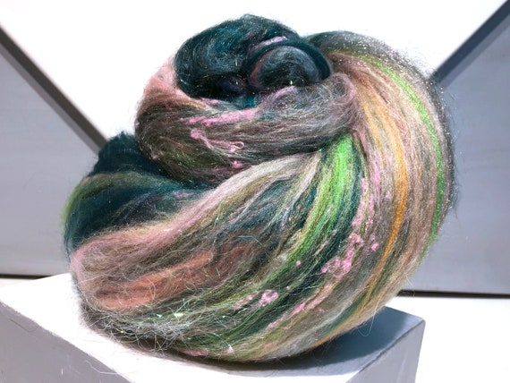 "pink green art batt, felting wool, spinning fiber ""Hollyhocks"" Pink tan white sage hunter olive green champagne"