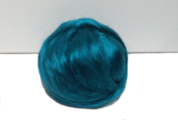 Teal Bamboo roving, Felting Spinning, vegan fiber silk alternative, nuno needle felt, teal roving, blue green, blue
