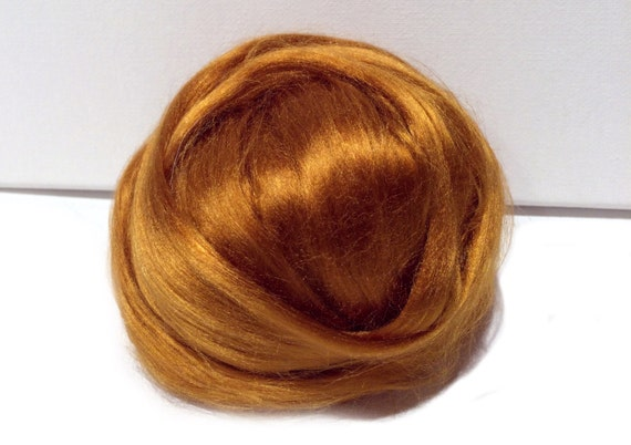 Topaz Bamboo roving, Felting Spinning, gold citrine amber brown yellow, November birthstone vegan fiber silk alternative, nuno needle felt