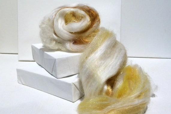 "fiber art batt, spinning fiber, Nuno / Needle felting wool, ""Gilda"" White, Gold, yellow, ecru, topaz, tan, Phat Fiber Ed. wool craft, roving"