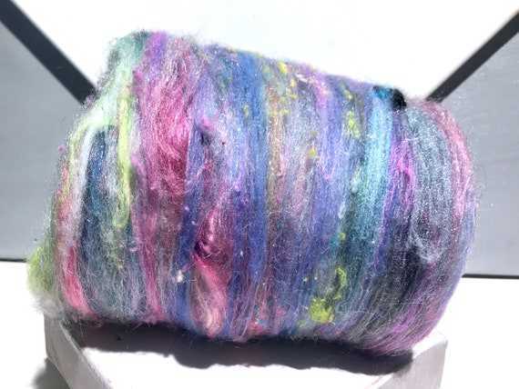 "Mixed fiber art batt,""Pastel Palette"" Pastel pink blue lavender mini batts, pastel color scrap fiber wool batt, needle wet felting, spinning"