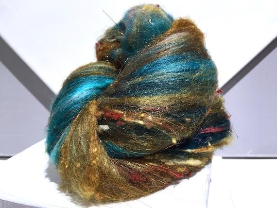 "Teal fiber art batt, wool, roving, MTO ""Verdigris"" spinning, felting, Aqua, turquoise, rust, topaz, copper, sienna, teal"