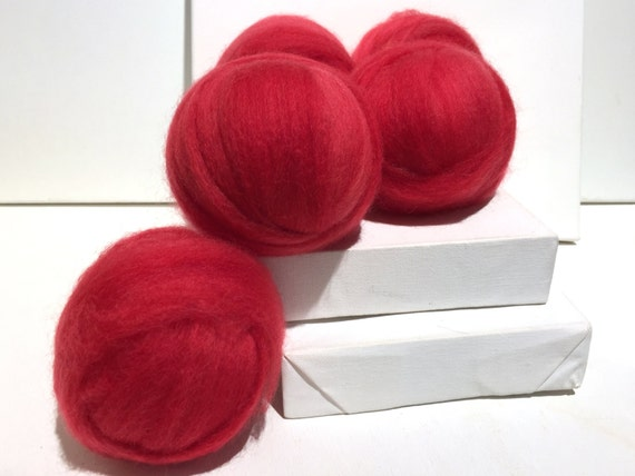 Watermelon Red roving, Needle Felting wool, Spinning fiber, roving, hand dyed, bright pink red, light red, Summer red roving