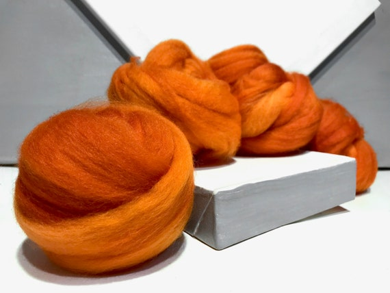Carrot Orange wool roving, Felting Spinning Fiber, Needle Felting wool, pumpkin orange, tertiary orange, yellow orange, pumpkin, Superwash