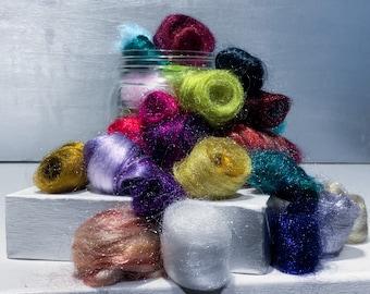 Firestar grab bag, Surprise Craft Kit, 1oz, multi-color, sparkly mini roving, stocking stuffer