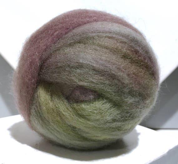 "violet green variegated wool roving ""Fairy Forest"" hand dyed Felting Spinning Fiber, lavender violet olive moss green roving"